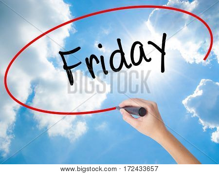 Woman Hand Writing Friday With Black Marker On Visual Screen