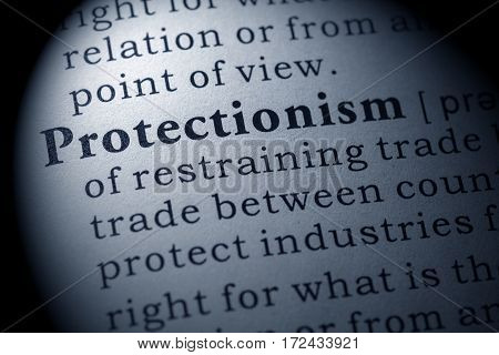 Fake Dictionary Dictionary definition of the word Protectionism. including key descriptive words.