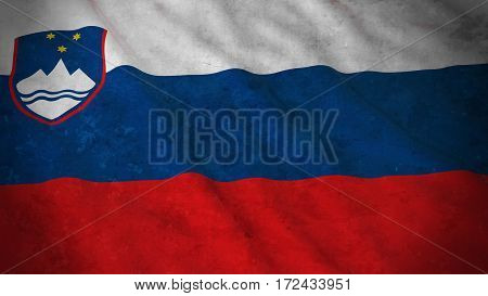 Grunge Flag Of Slovenia - Dirty Slovenian Flag 3D Illustration