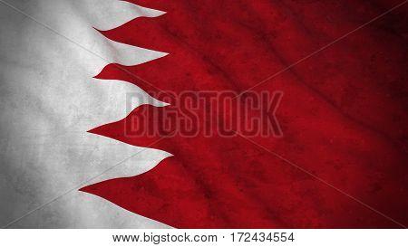 Grunge Flag Of Bahrain - Dirty Bahraini Flag 3D Illustration