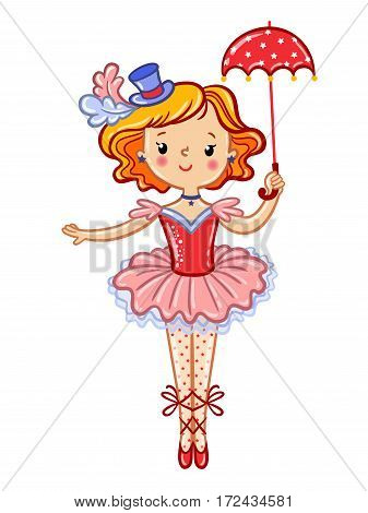 Postcard card poster or invitation with a cute circus girl. Wonderful illustration of circus artist. Vector illustration.