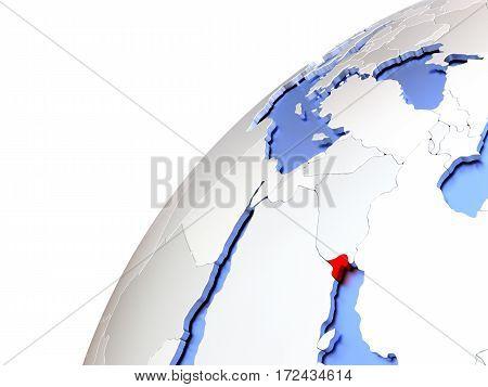 Kuwait On Modern Shiny Globe