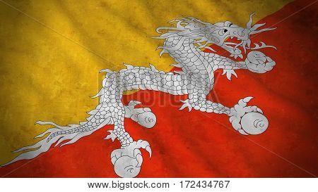 Grunge Flag Of Bhutan - Dirty Bhutanese Flag 3D Illustration