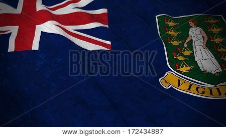 Grunge Flag Of The British Virgin Islands - Dirty British Virgin Island Flag 3D Illustration