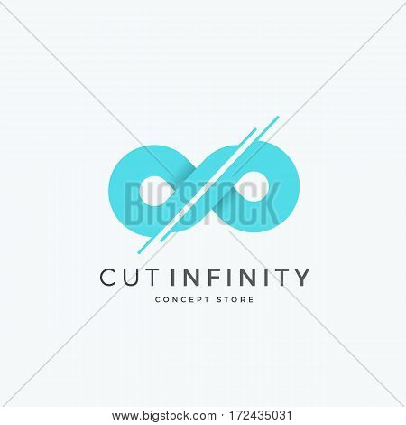 Cut Infinity Abstract Vector Sign, Emblem or Logo Template. Divided Eternity Symbol. Modern Creative Concept. Isolated.