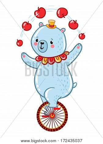 Bear juggles apples riding one wheel bike in the Amazing Circus Show. Vector illustration.
