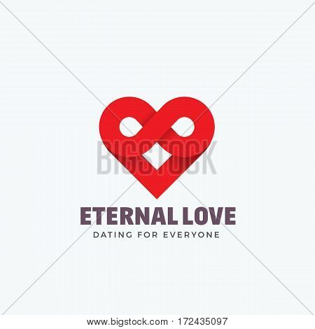 Eternal Love Abstract Vector Sign, Emblem or Logo Template. Infinity Symbol and Heart Icon Mixture. Creative Concept Silhouette. Isolated.