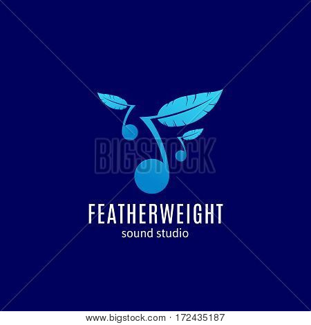 Featherweight Sound Studio Abstract Vector Sign, Emblem or Logo Template. Note with Feather Silhouette. Easy Listening Creative Symbol. On Blue Background.