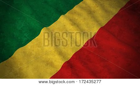 Grunge Flag Of Congo - Dirty Congolese Flag 3D Illustration