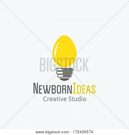 Newborn Ideas Abstract Vector Sign, Emblem or Logo Template. Light Bulb and Egg Concept Symbol. Isolated.