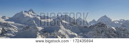 Panoramic view of the Swiss alps from the Bella Tola peak.