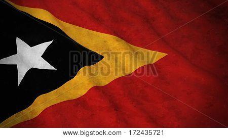 Grunge Flag Of East Timor - Dirty Timorese Flag 3D Illustration
