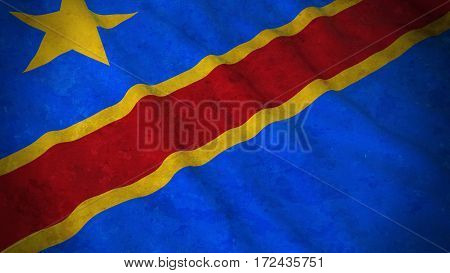 Grunge Flag Of Dr Congo - Dirty Congolese Flag 3D Illustration