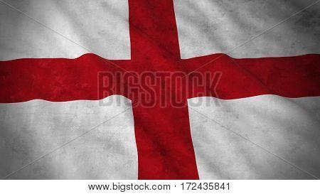 Grunge Flag Of England - Dirty English Flag 3D Illustration