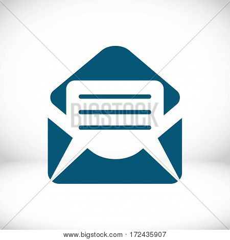 Open envelope mail icon, vector illustration. Flat design style