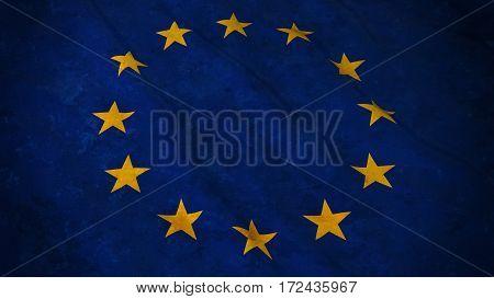 Grunge Flag of the European Union - Dirty EU Flag 3D Illustration