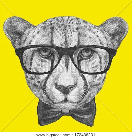 Portrait of Cheetah with glasses and bow tie. Hand-drawn illustration.