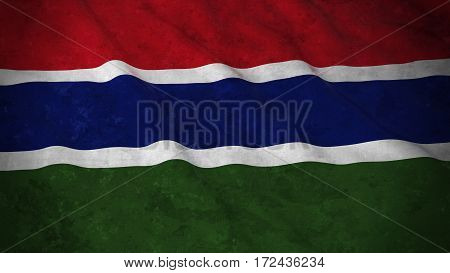 Grunge Flag Of Gambia - Dirty Gambian Flag 3D Illustration