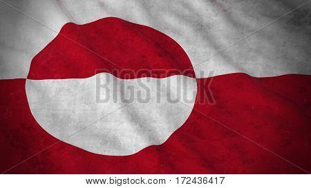 Grunge Flag Of Greenland - Dirty Greenlandic Flag 3D Illustration