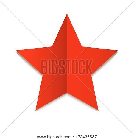 Five-pointed red star isolated on white background. Star of the folded sheet of paper.