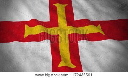 Grunge Flag Of Guernsey - Dirty Channel Island Flag 3D Illustration