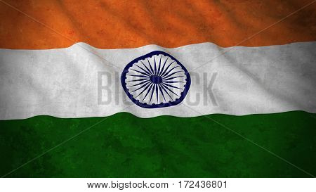 Grunge Flag Of India - Dirty Indian Flag 3D Illustration