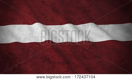 Grunge Flag Of Latvia - Dirty Latvian Flag 3D Illustration