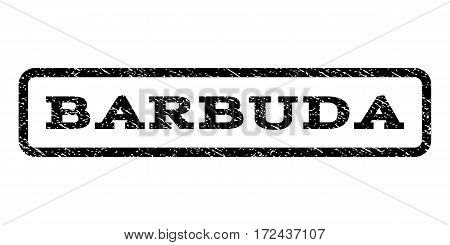 Barbuda watermark stamp. Text tag inside rounded rectangle with grunge design style. Rubber seal stamp with dust texture. Vector black ink imprint on a white background.