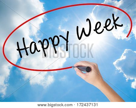 Woman Hand Writing Happy Week With Black Marker On Visual Screen