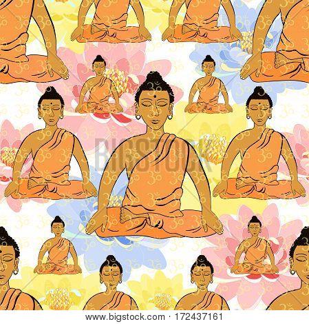 Seamless Pattern Buddha Sitting In The Lotus Indian Meditation Closed Eyes . Vector Illustration