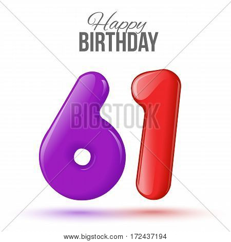 sixty one birthday greeting card template with 3d shiny number sixty one balloon on white background. Birthday party greeting, invitation card, banner with number 61shaped balloon