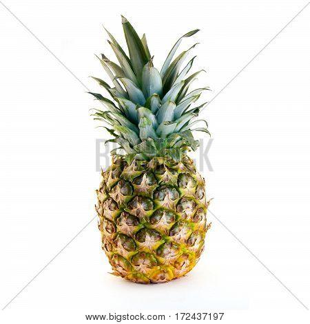 Isolated fresh ripe pineapple on white background