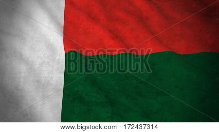 Grunge Flag Of Madagascar - Dirty Malagasy Flag 3D Illustration