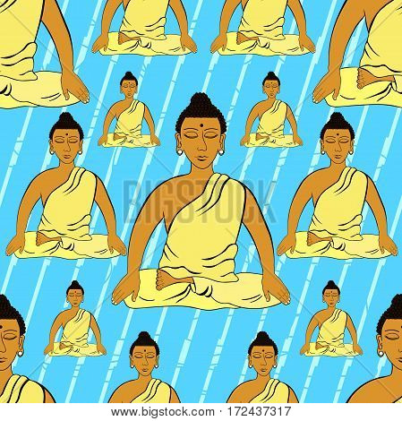 Seamless Pattern Buddha Sitting In The Lotus Indian Meditation Closed Eyes . Vector Illustration