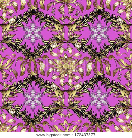Classic golden pattern. Vector traditional orient ornament. Golden pattern on pink background with golden elements.
