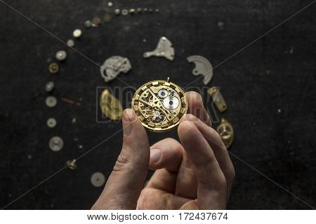 The process of mechanical watch repiar with special tools