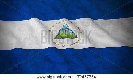 Grunge Flag Of Nicaragua - Dirty Nicaraguan Flag 3D Illustration