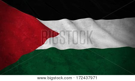 Grunge Flag Of Palestine - Dirty Palestinian Flag 3D Illustration