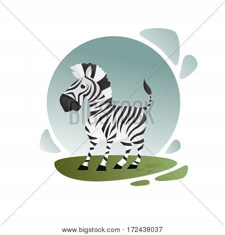 Adorable zebra with kind face, cartoon character isolated on dark green grass and blue sky