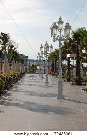 Belek, Turkey - June 02, 2015: Original white lanterns on walkways in hotel Gural Premier Belek.