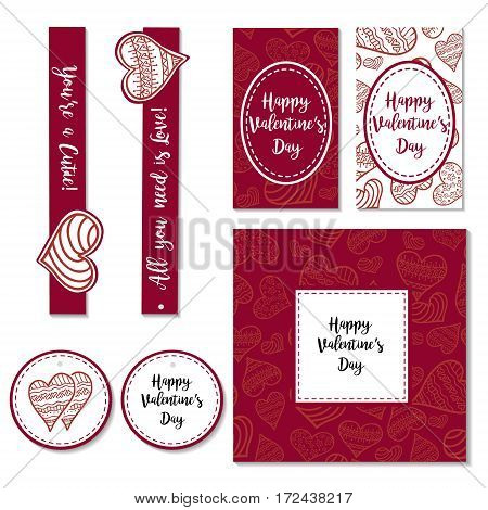 Happy Valentines day vector illustration. Hand drawing lettering design. Romantic greeting card on white background
