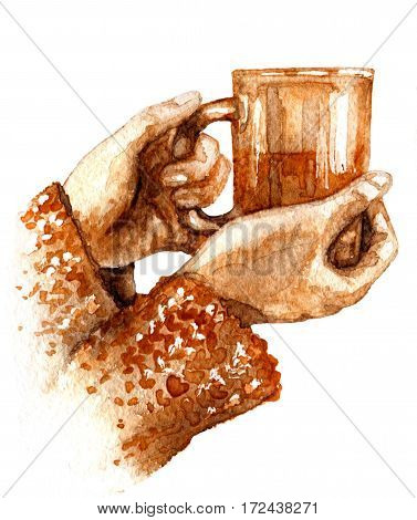 Hand drawn watercolor illustration. Hygge theme. Elements of home comfort. Teacup in female hands isolated on white background. Aquarelle sketch.