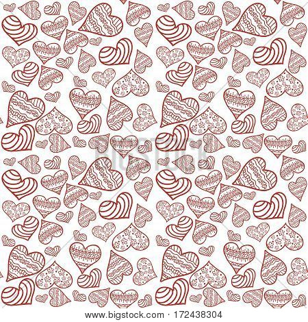 Seamless pattern with white background and red hearts. Stylish repeating of abstract painting with flowers