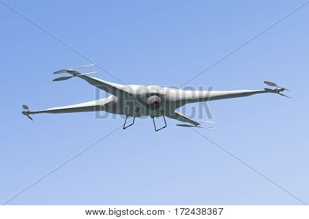 White drone flying over blue sky background - 3D rendering
