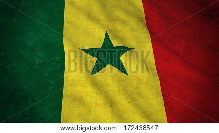 Grunge Flag Of Senegal - Dirty Senegalese Flag 3D Illustration