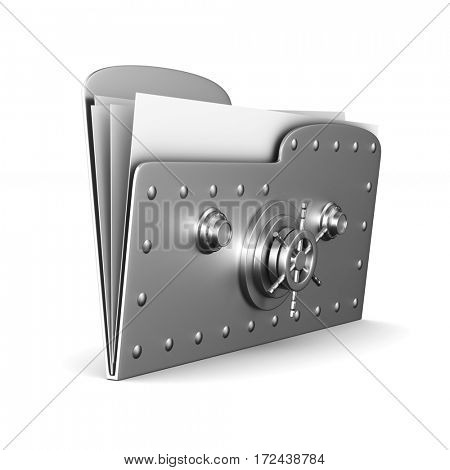 computer folder with lock on white background. Isolated 3d image