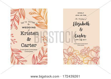Yellow vintage cards with elegant floral decor and handwritten text. Card decoration and wedding design