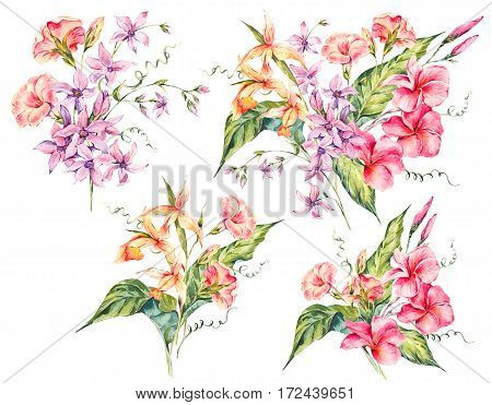 Set of watercolor tropical vintage floral bouquet of exotic flowers, twigs and leaves, Botanical bright classic illustration isolated on white. Summer floral greeting card