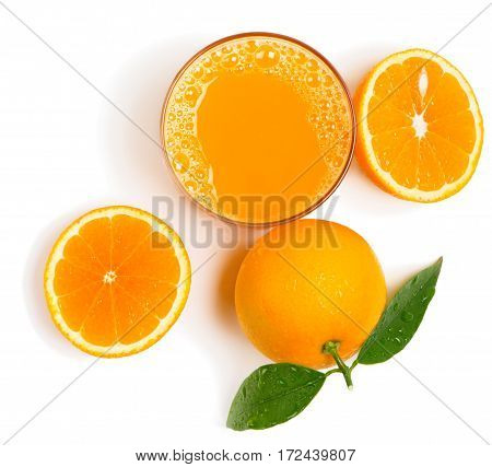 Top view of homemade drink from freshly squeezed orange fruits isolated on white background.