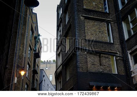 brick wall of a building in london